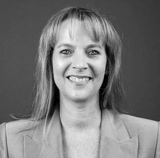 Louise Dighton NSW/ACT State Manager for Spirits Plarform black and white portrait